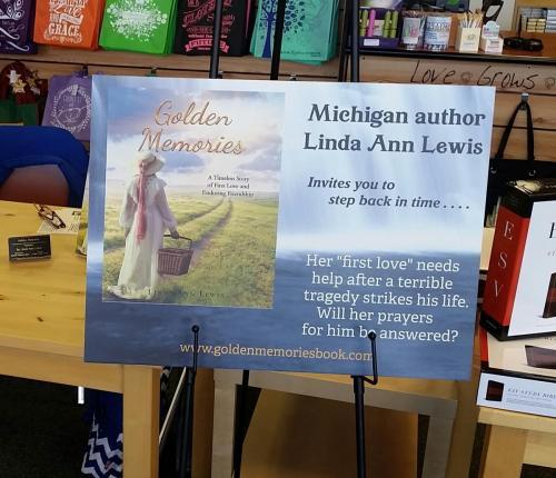 Poster at book signing